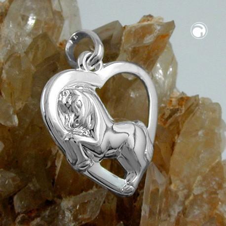 Pendentif coeur avec un cheval en argent 925