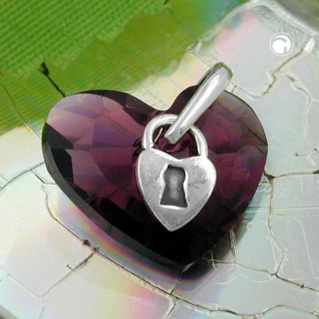 Pendentif coeur avec serrure en argent