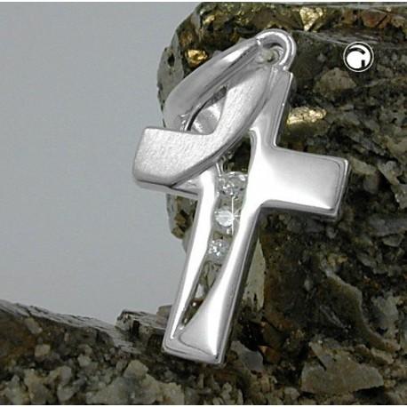 Pendentif croix en argent avec cz