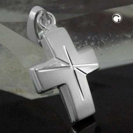 Pendentif croix en argent avec effet diamanté
