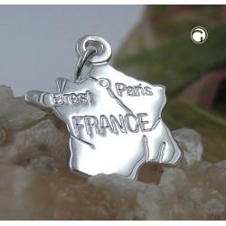 Pendentif carte de France en argent
