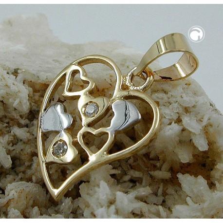 Pendentif coeur bicolore avec CZ en or 9K