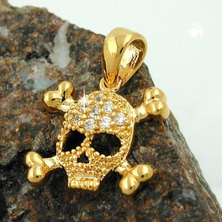 Pendentif tête de mort plaqué or